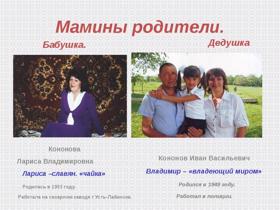 Мамины родители. Бабушка. Кононова Лариса Владимировна  Лариса –славян. «чай...