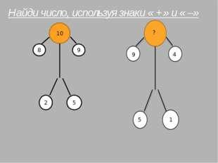 10 8 9 2 5 ? 9 4 5 1 Найди число, используя знаки « +» и « –»