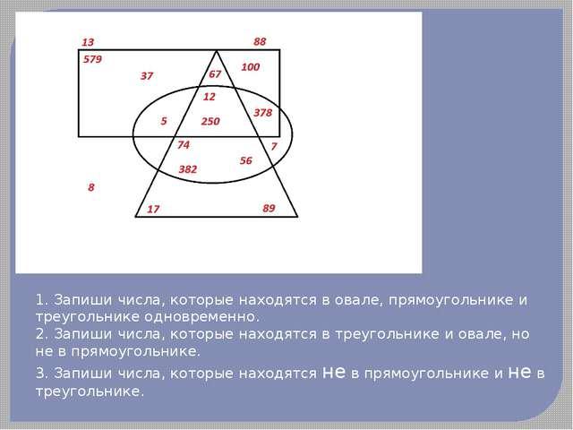 1. Запиши числа, которые находятся в овале, прямоугольнике и треугольнике одн...