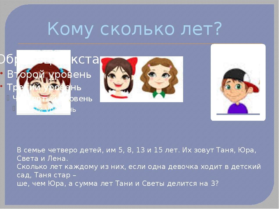 Кому сколько лет? В семье четверо детей, им 5, 8, 13 и 15 лет. Их зовут Таня,...