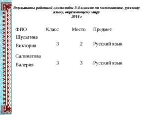 Результаты районной олимпиады 3-4 классов по математике, русскому языку, окру