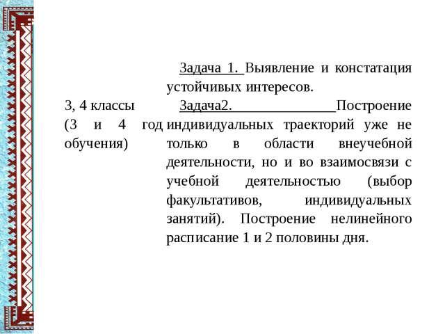 3, 4классы (3 и 4 год обучения) Задача 1.Выявление и констатация устойчивых...