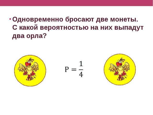 Одновременно бросают две монеты. С какой вероятностью на них выпадут два орла?