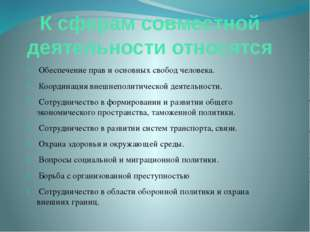 К сферам совместной деятельности относятся Обеспечение прав и основных свобод