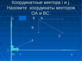 Координатные вектора i и j. Назовите координаты векторов ОА и ВС. y B 5i