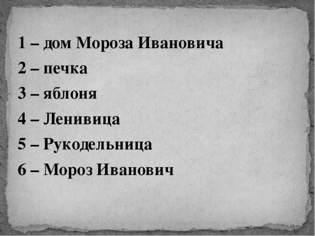 1 – дом Мороза Ивановича 2 – печка 3 – яблоня 4 – Ленивица 5 – Рукодельница 6...
