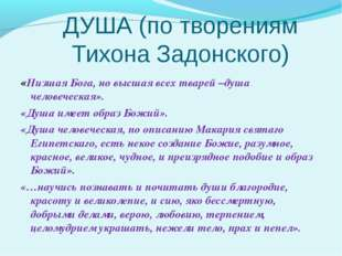 ДУША (по творениям Тихона Задонского) «Низшая Бога, но высшая всех тварей –ду