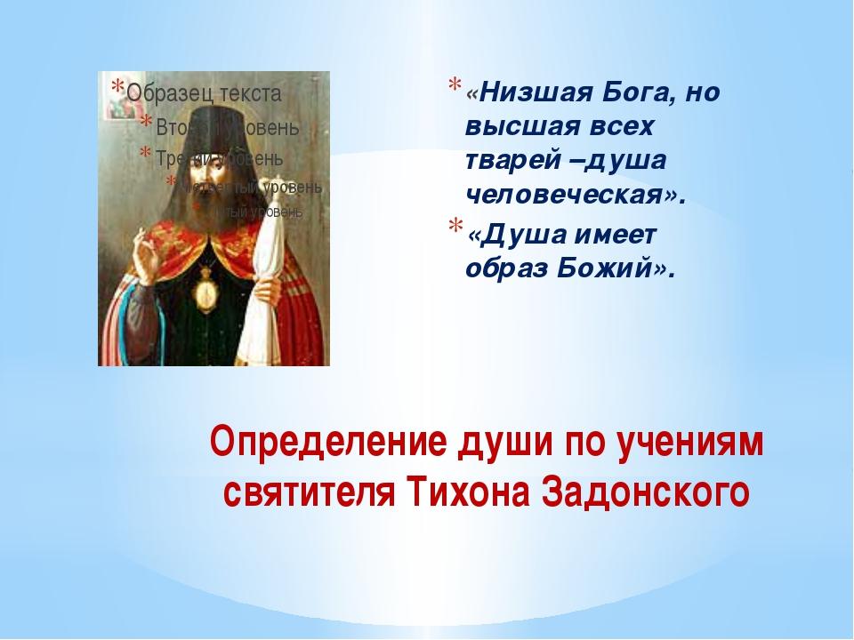 Определение души по учениям святителя Тихона Задонского «Низшая Бога, но высш...