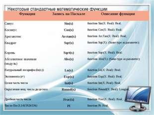 Некоторые стандартные математические функции. ФункцияЗапись на ПаскалеОписа