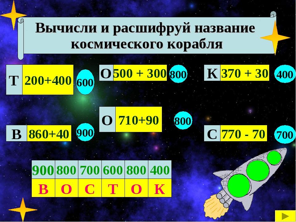 Вычисли и расшифруй название космического корабля 200+400 860+40 710+90 500 +...