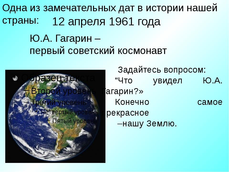 12 апреля 1961 года Ю.А. Гагарин – первый советский космонавт Одна из замечат...