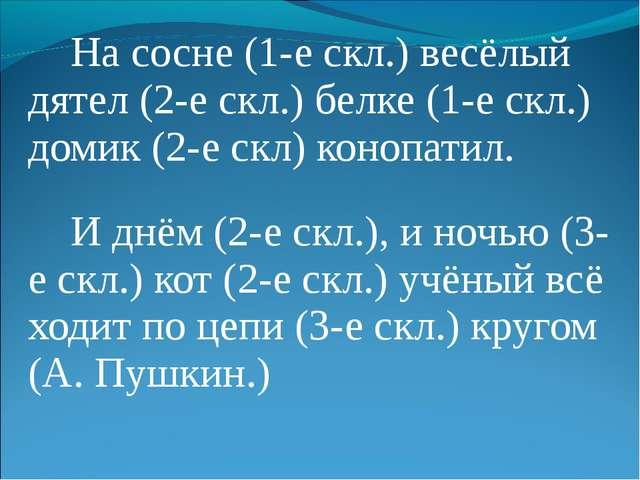 На сосне (1-е скл.) весёлый дятел (2-е скл.) белке (1-е скл.) домик (2-е скл...