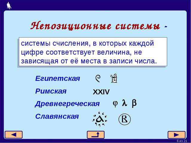 Непозиционные системы - системы счисления, в которых каждой цифре соответству...