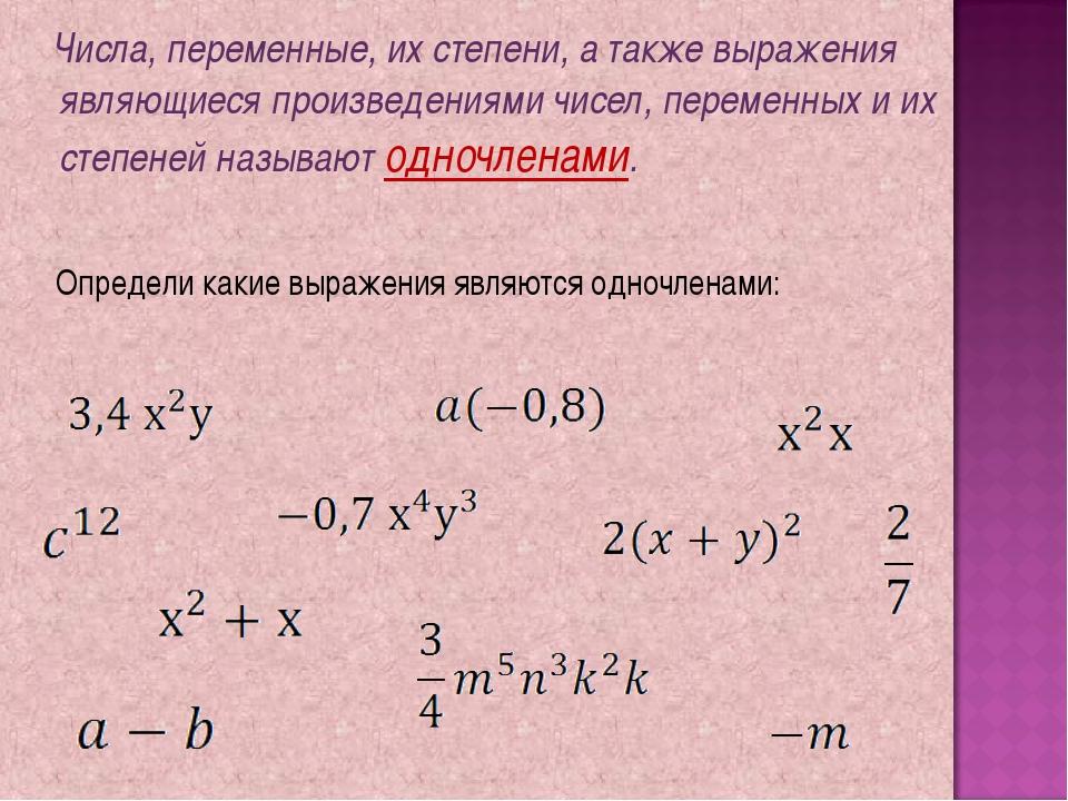 Числа, переменные, их степени, а также выражения являющиеся произведениями ч...