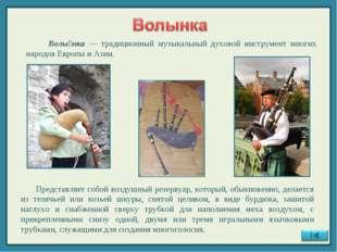 Волы́нка — традиционный музыкальный духовой инструмент многих народов Европы