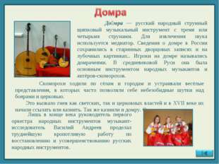 До́мра — русский народный струнный щипковый музыкальный инструмент с тремя и