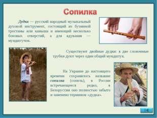 Дудка — русский народный музыкальный духовой инструмент, состоящий из бузинн