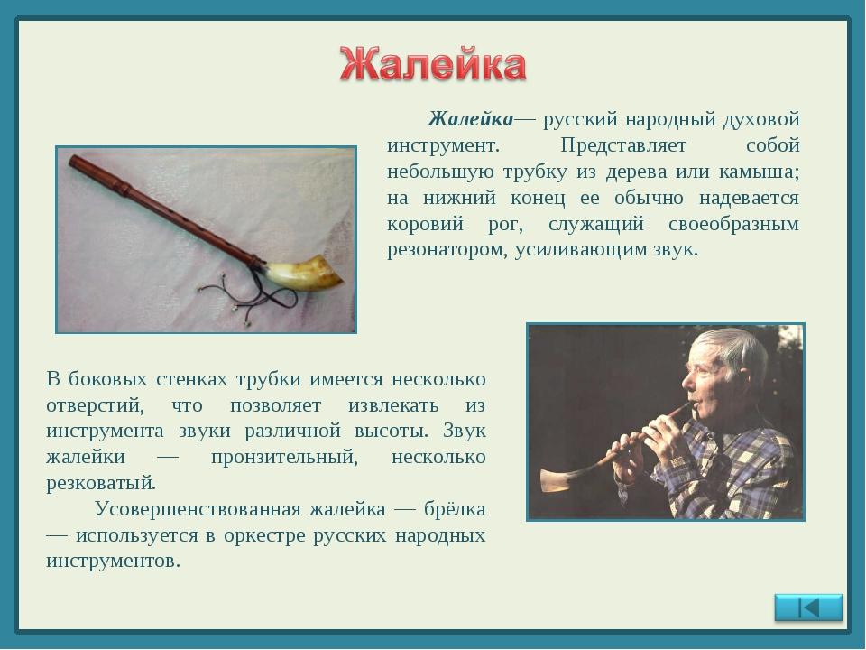 Жалейка— русский народный духовой инструмент. Представляет собой небольшую т...