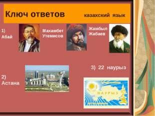 Ключ ответов казахский язык 1) Абай Махамбет Утемисов Жамбыл Жабаев 2) Астана