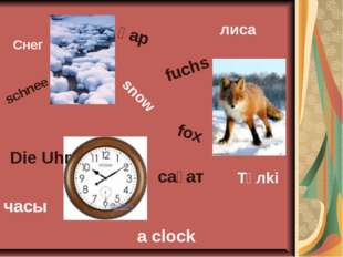 Снег қар snow schnee лиса fuchs fox Tүлki Diе Uhr часы сағат a clock