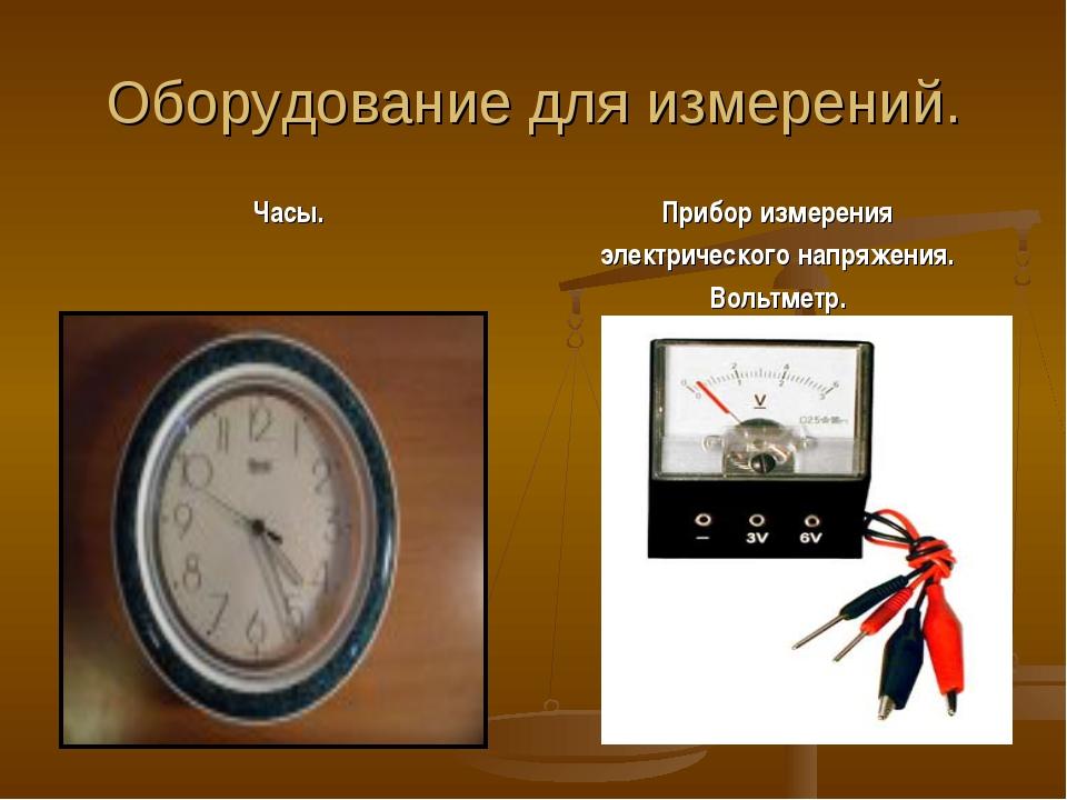 Оборудование для измерений. Часы. Прибор измерения электрического напряжения....