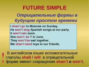 FUTURE SIMPLE В английском языке вспомогательные глаголы shall / will в отриц