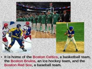 It is home of the Boston Celtics, a basketball team, the Boston Bruins, an ic