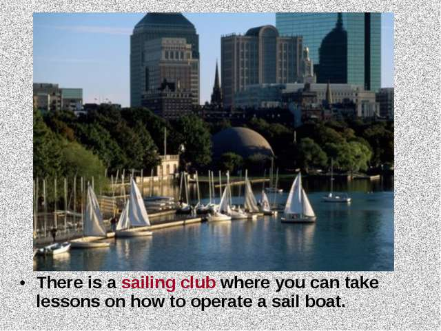 There is a sailing club where you can take lessons on how to operate a sail b...
