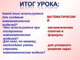 Какой язык используется для создания математических моделей? МАТЕМАТИЧЕСКИЙ *