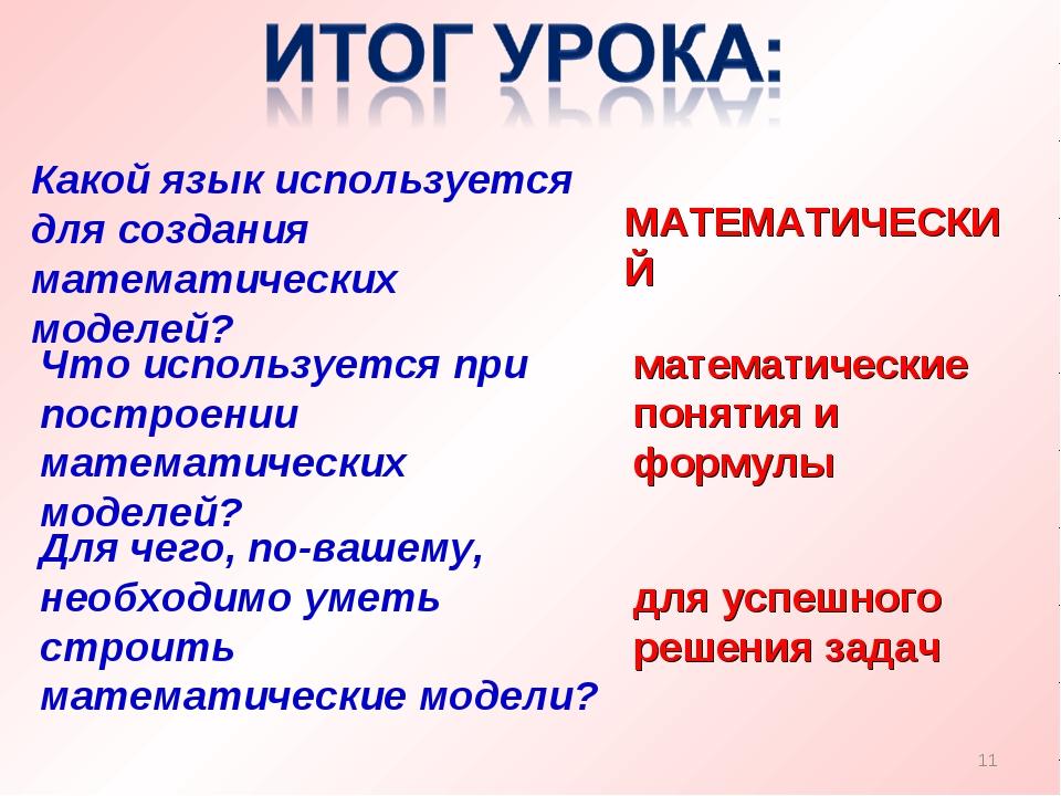 Какой язык используется для создания математических моделей? МАТЕМАТИЧЕСКИЙ *...