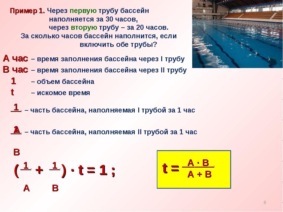 Пример 1. Через первую трубу бассейн наполняется за 30 часов, через вторую т...