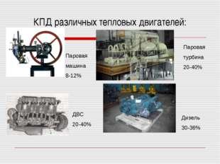 КПД различных тепловых двигателей: Паровая машина 8-12% Паровая турбина 20-40