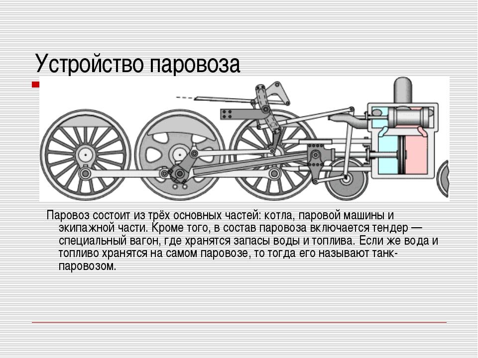 Устройство паровоза Паровоз состоит из трёх основных частей: котла, паровой м...