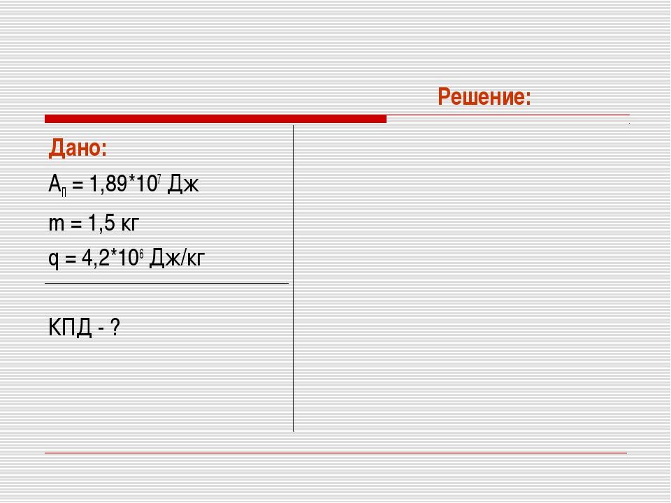 Дано: АП = 1,89*107 Дж m = 1,5 кг q = 4,2*106 Дж/кг КПД - ? Решение: