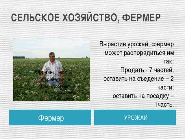 СЕЛЬСКОЕ ХОЗЯЙСТВО, ФЕРМЕР Фермер УРОЖАЙ Вырастив урожай, фермер может распор...