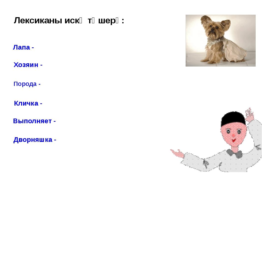 Лексиканы искә төшерү: Лапа - Хозяин - Порода - Кличка - Выполняет - Дворняшк...