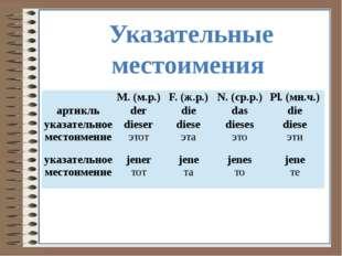 Указательные местоимения M.(м.р.) F. (ж.р.) N. (ср.р.) Pl. (мн.ч.) артикль d