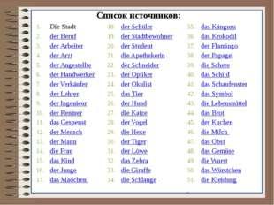 Список источников: Die Stadt der Beruf der Arbeiter der Arzt der Angestellte