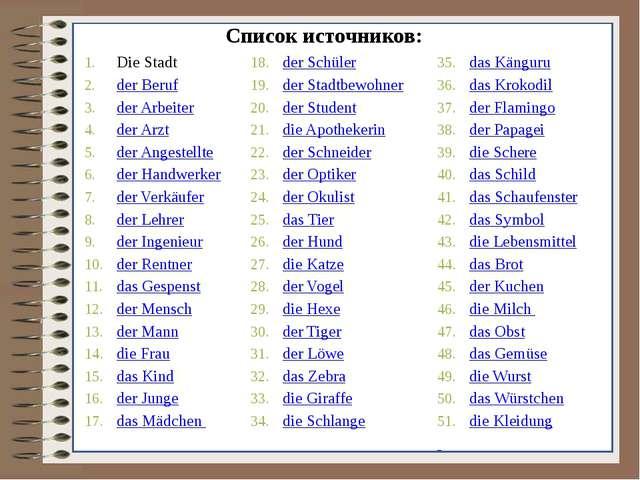 Список источников: Die Stadt der Beruf der Arbeiter der Arzt der Angestellte...