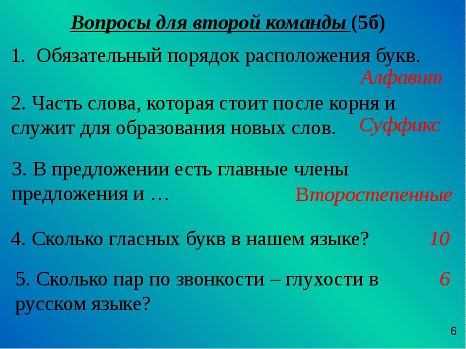 Вопросы для второй команды (5б) Обязательный порядок расположения букв. 2. Ча...