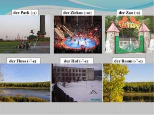 der Park (-s) der Fluss (-¨-e) der Hof (-¨-e) der Zirkus (-se) der Zoo (-s) d