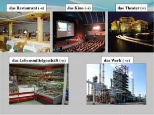 das Theater (=) das Kino (-s) das Restaurant (-s) das Lebensmittelgeschäft (