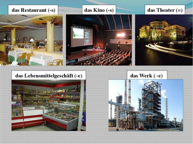 das Theater (=) das Kino (-s) das Restaurant (-s) das Lebensmittelgeschäft (...