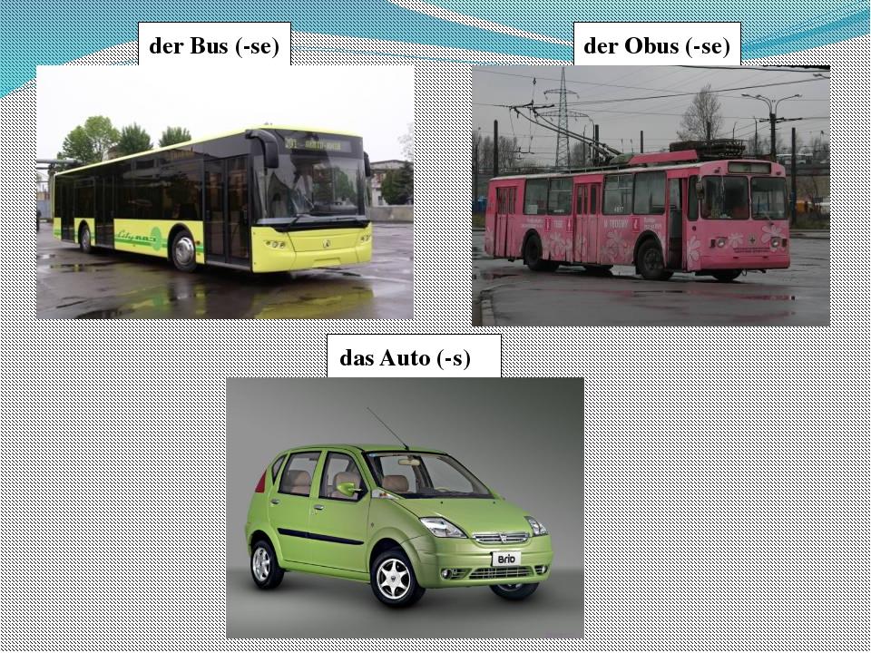 der Obus (-se) der Bus (-se) das Auto (-s)