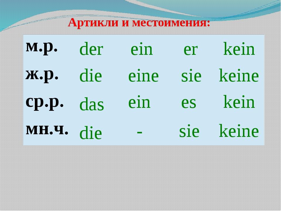 Артикли и местоимения: der die das die ein eine ein - er sie es sie kein kein...
