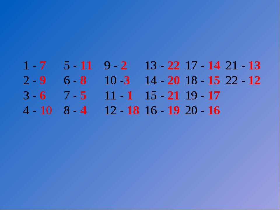 1 -5 -9 -13 -17 -21 - 2 -6 -10 -14 -18 -22 - 3 -7 -11 -15 -19 -...