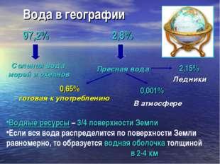 Вода в географии Водные ресурсы – 3/4 поверхности Земли Если вся вода распред