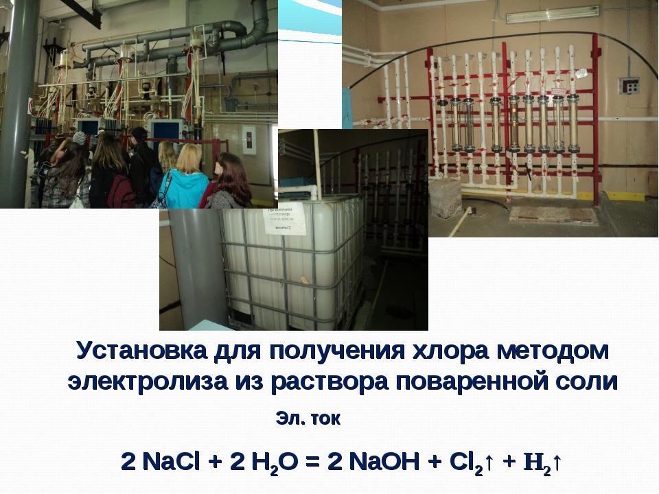 Установка для получения хлора методом электролиза из раствора поваренной соли...