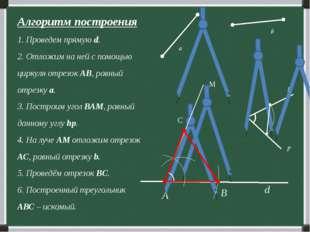 Алгоритм построения 1. Проведем прямую d. 2. Отложим на ней с помощью циркуля