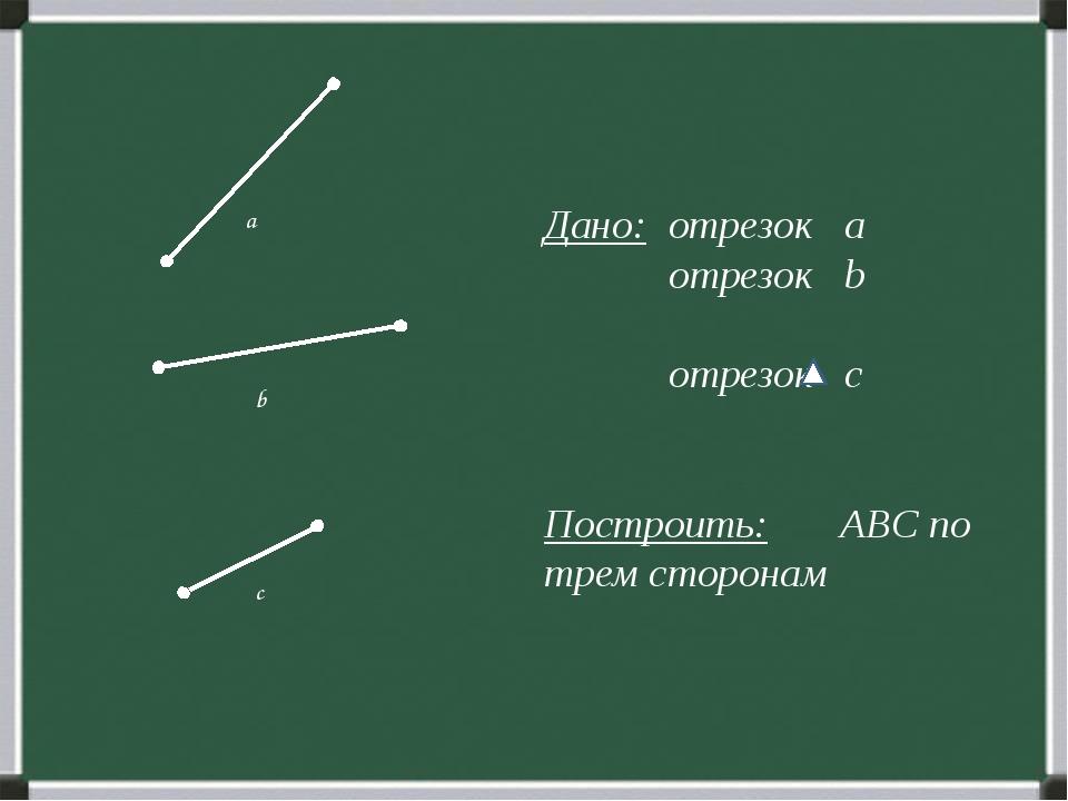 Дано: отрезок а отрезок b отрезок c Построить: ABC по трем сторонам b a с